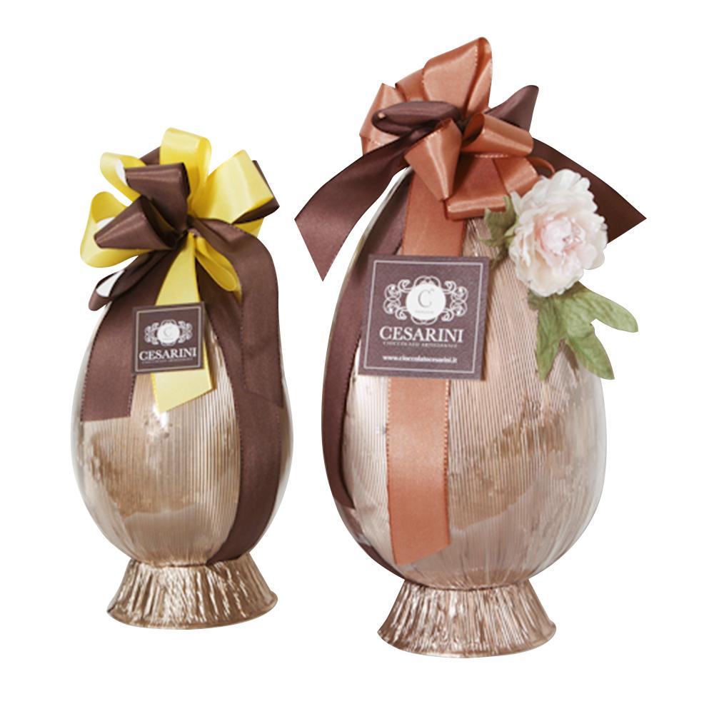 Maxi uova di cioccolato artigianali in confezione decorata Cesarini