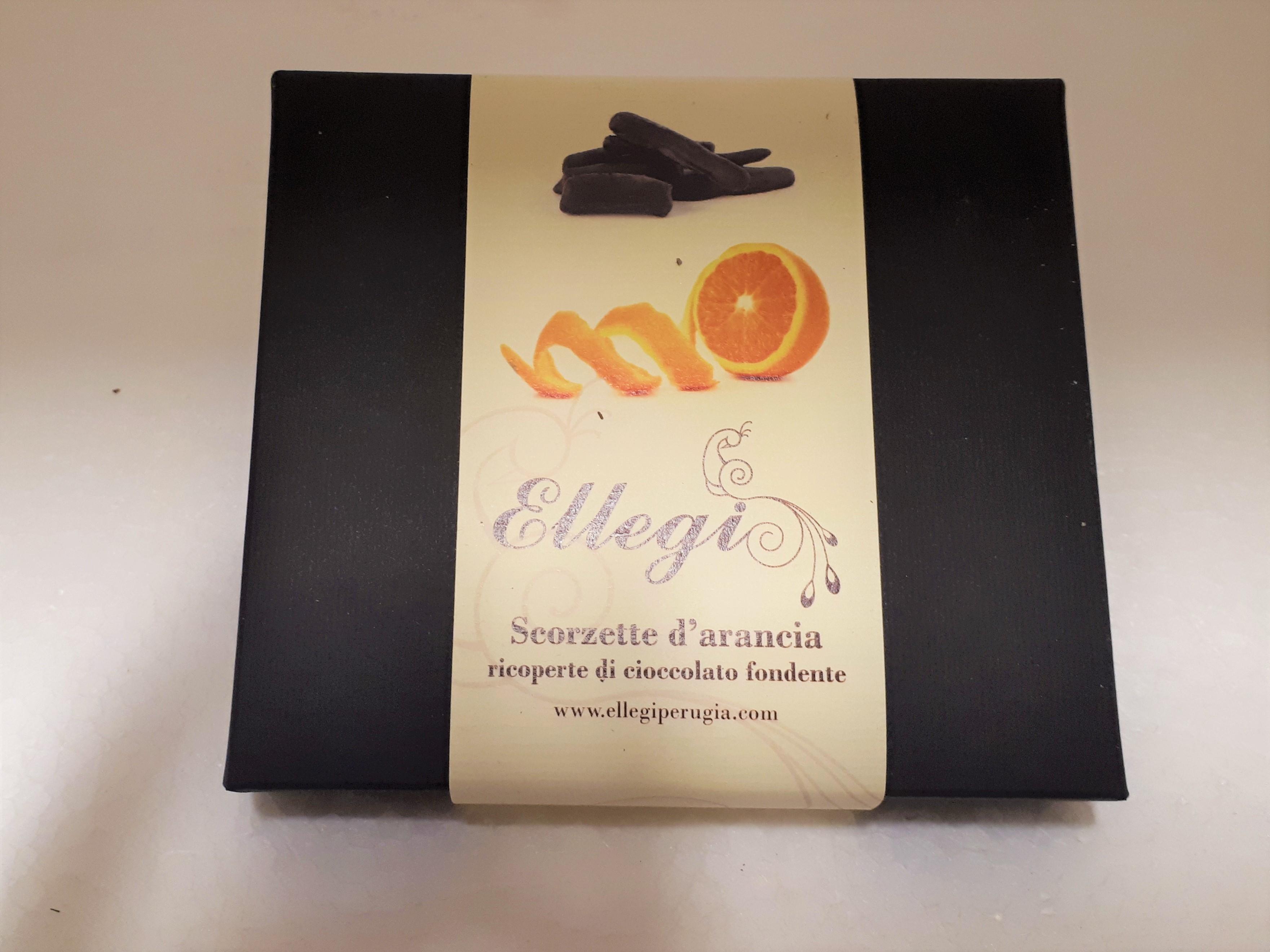 scatola scorzette di arancia candita al cioccolato
