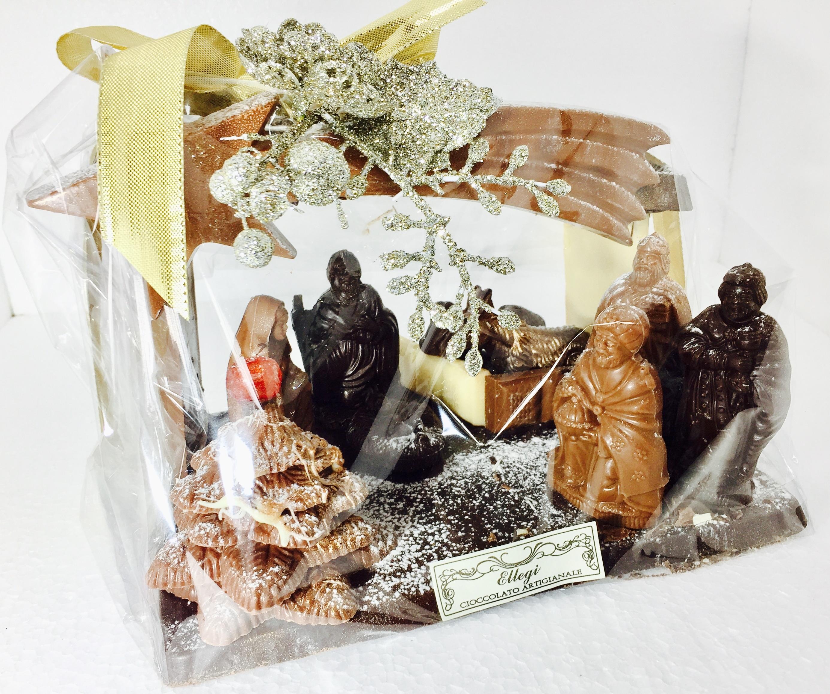 Presepe di cioccolata e torrone artigianale