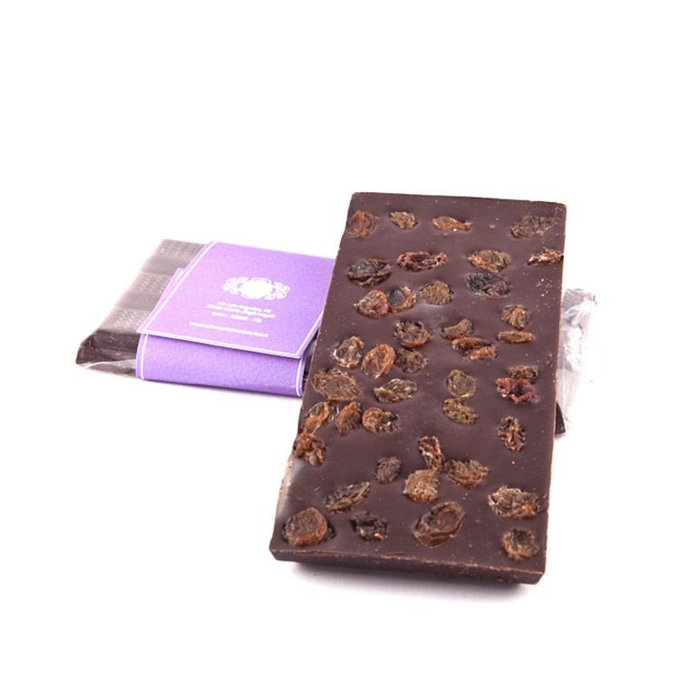 Tavoletta di cioccolato con uvetta gr.100 fondente o latte bianco