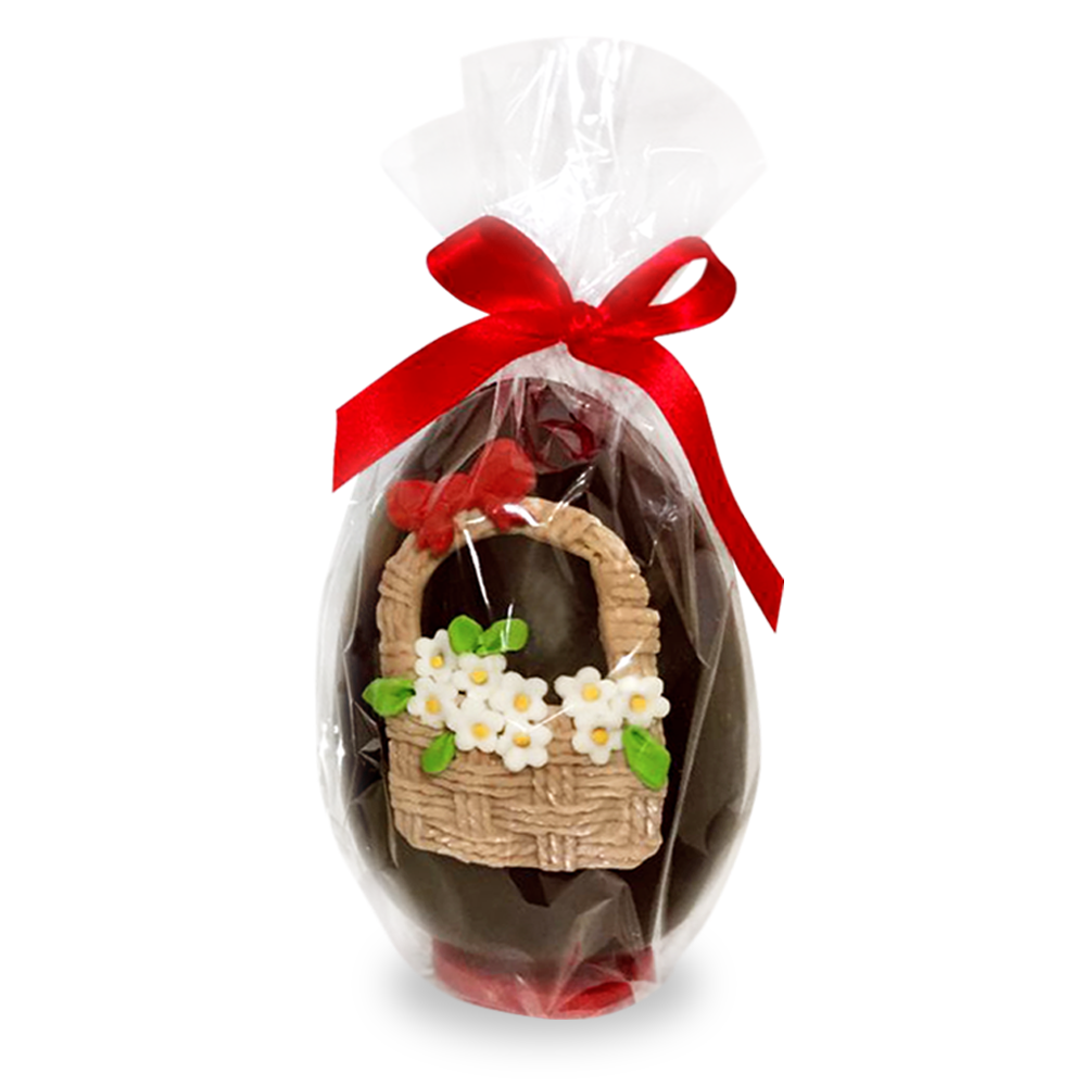 Uovo di cioccolato artigianale decorato con fiori in pasta di zucchero