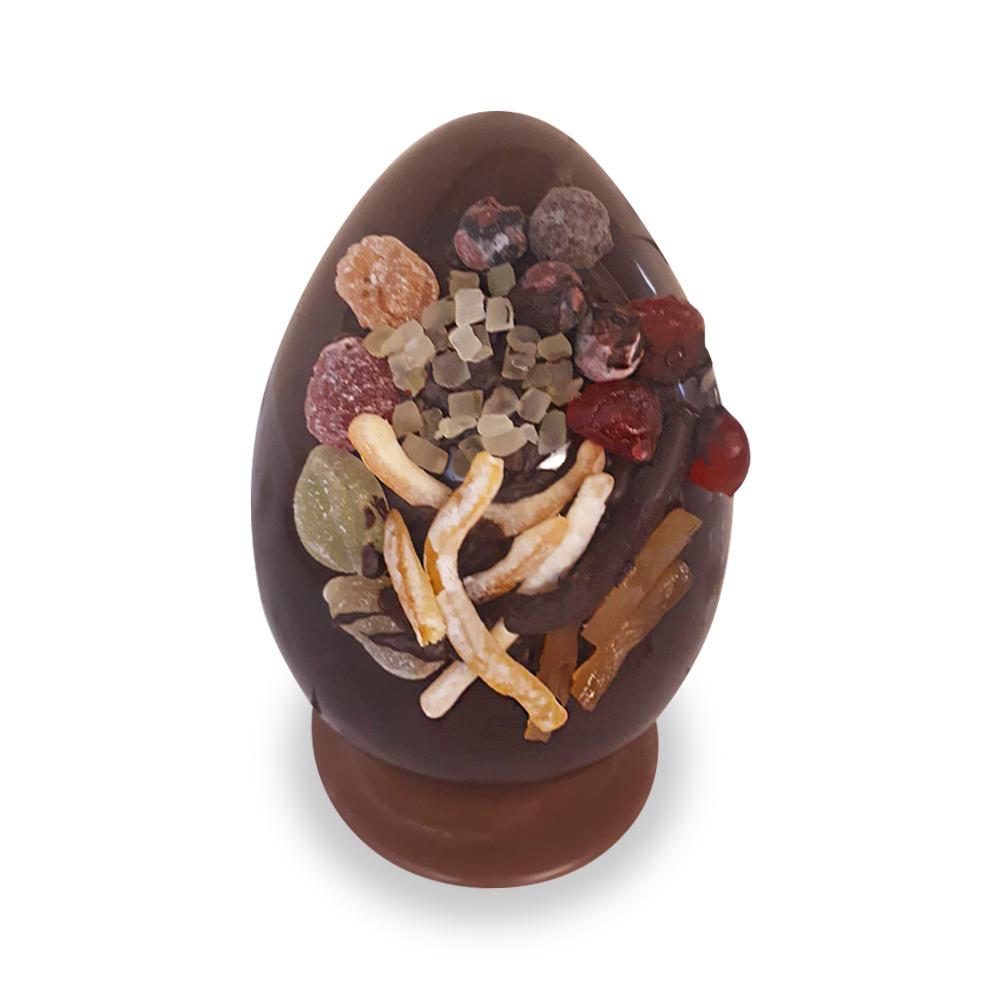 Uovo gr.700 (gr.930 circa)di cioccolato artigianale con frutta secca o candita, praline